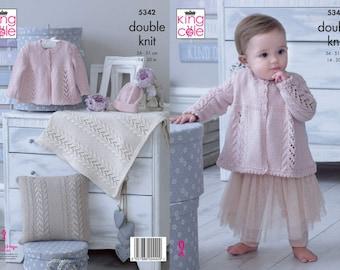 "King Cole 4136 Baby//Child/'s Aran Cardigan Knitting Pattern Sizes 16-26/"""