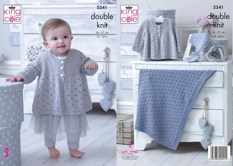 10ef9666c9f3 King Cole 5341 DK Knitting Pattern Babies Matinee Jacket