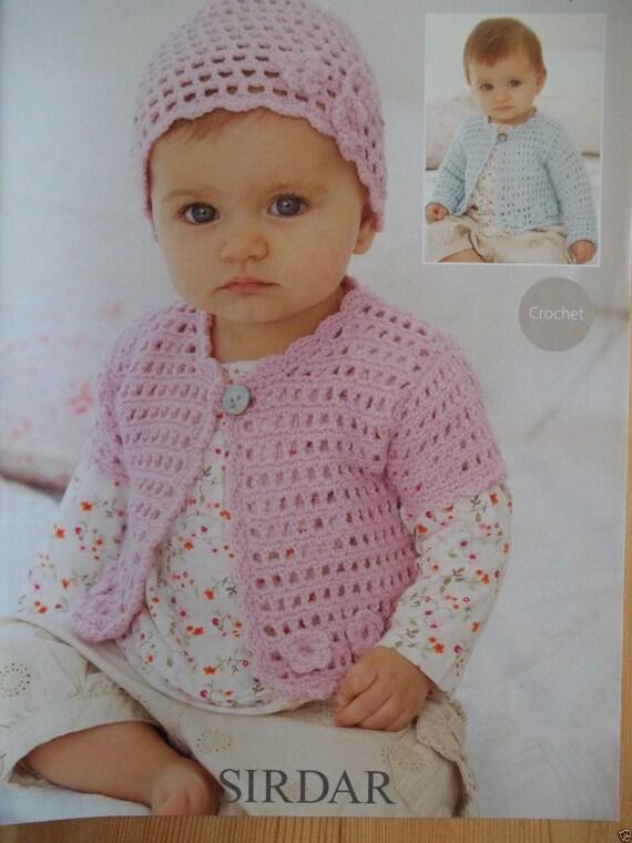 3d91bcf34317 Sirdar 4 ply Crochet Pattern 1900 girls cardigan and hat 4