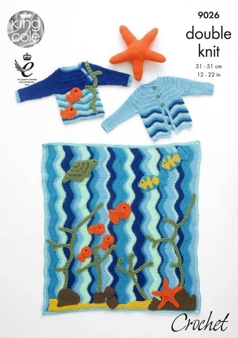 35eb939ae42d King Cole 9026 Crochet Pattern Under the Sea Blanket Jumper