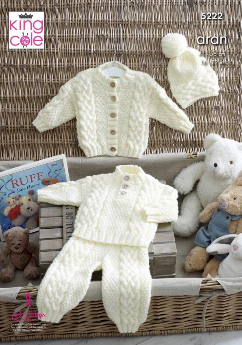 48832d33f10a King Cole Aran Knitting Pattern Baby Sweater Jacket
