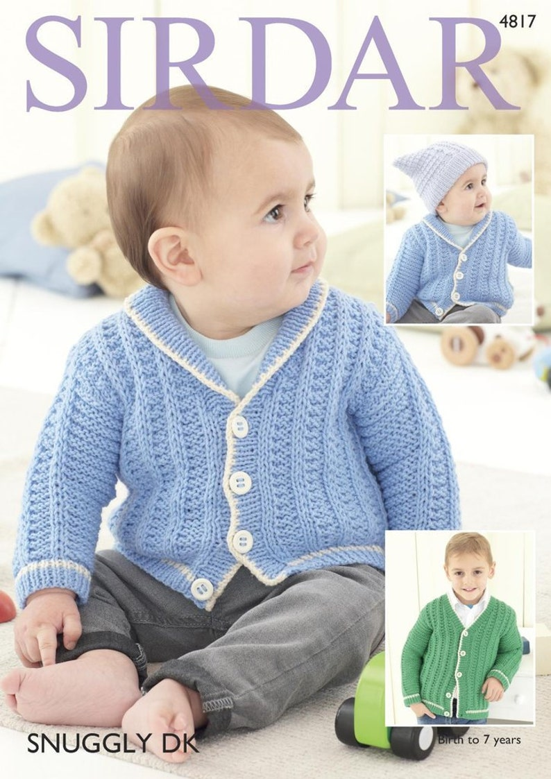 ae8a388c6 Cardigans and Hat in Snuggly DK Knitting Pattern Sirdar