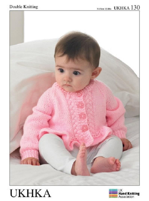 27bbd8553 Cardigan and Sweater Knitting Pattern UKHKA 130 Baby