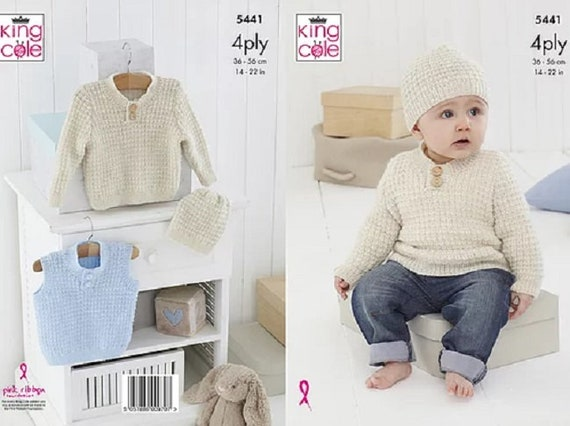 KNITTING PATTERN Baby Cable Jacket Coat Jumper /& Hat King Cole DK King Cole 4807