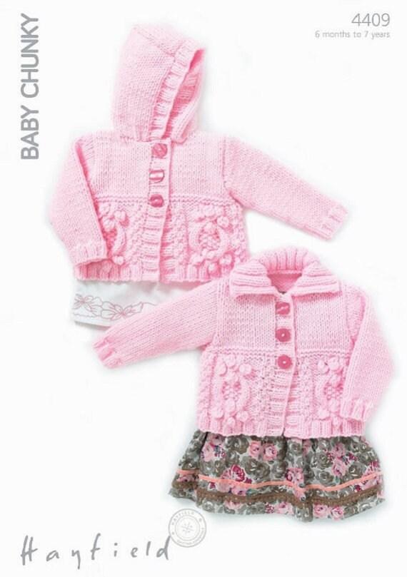 ecce44e45 Hayfield Knitting Pattern 4409  Cardigan in Baby Chunky