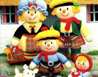 Jean Greenhowe MacScarecrow Clan Knitting Pattern Booklet , scottish scarecrow family, knitted doll, scarecrows, knitting pattern