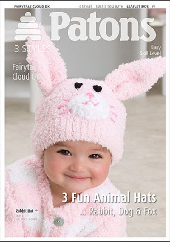 f43074712bc1 3 Fun Animal Hats Knitting Pattern Rabbit Dog   Fox baby
