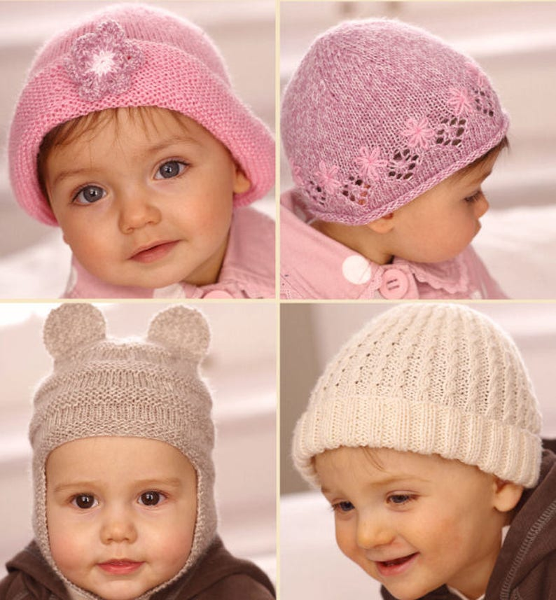 f90af23d6243 Sirdar Knitting Pattern Child Hats in Snuggly 4 ply beanie