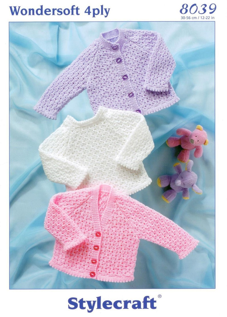 b6630b6fe Stylecraft Knitting Pattern 4 ply-Cardigans and Sweater baby