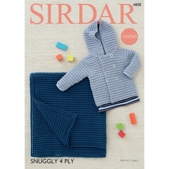 be6dceee6897 Sirdar 4 ply Crochet Pattern 4808 Boys Jacket and Blanket 4