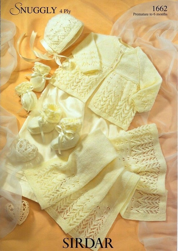 63374afe7 Lacy Matinee Set Sirdar Snuggly 4ply Knitting Pattern 1662