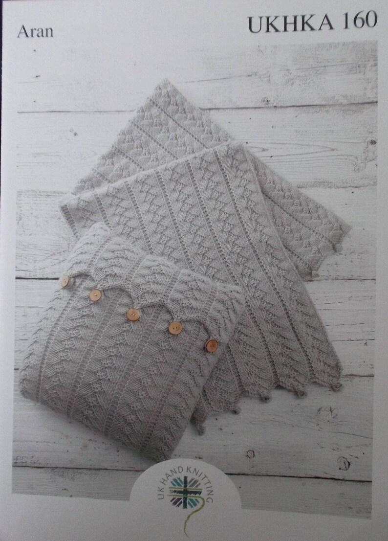 884c56e43fe Aran Cushion and Blanket Knitting Pattern UKHKA 160 Knitting