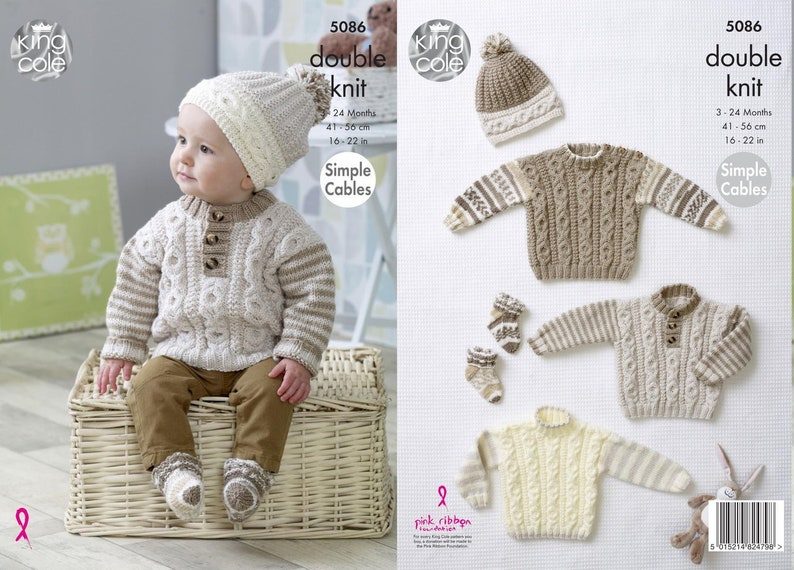 779705dee King Cole Knitting Pattern Simple Cables Sweaters Hats and
