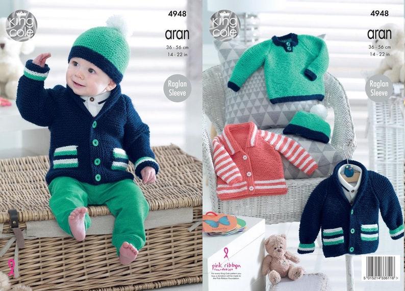 0859043ba King Cole Aran Knitting Pattern Baby Childrens Jacket