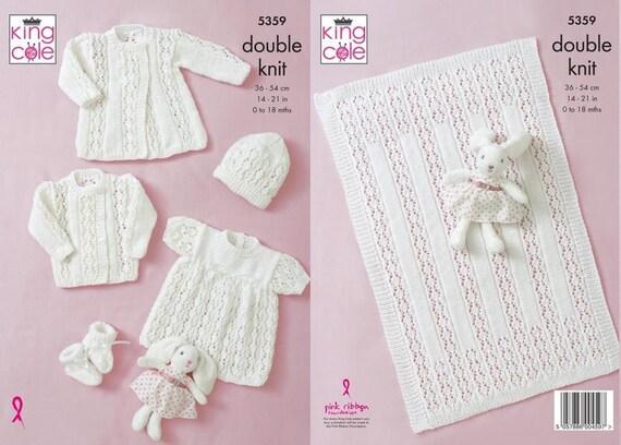 "King Cole 5359 Baby/'s Cardigans Hat /& Blanket DK Knitting Pattern Size 14-21/"""