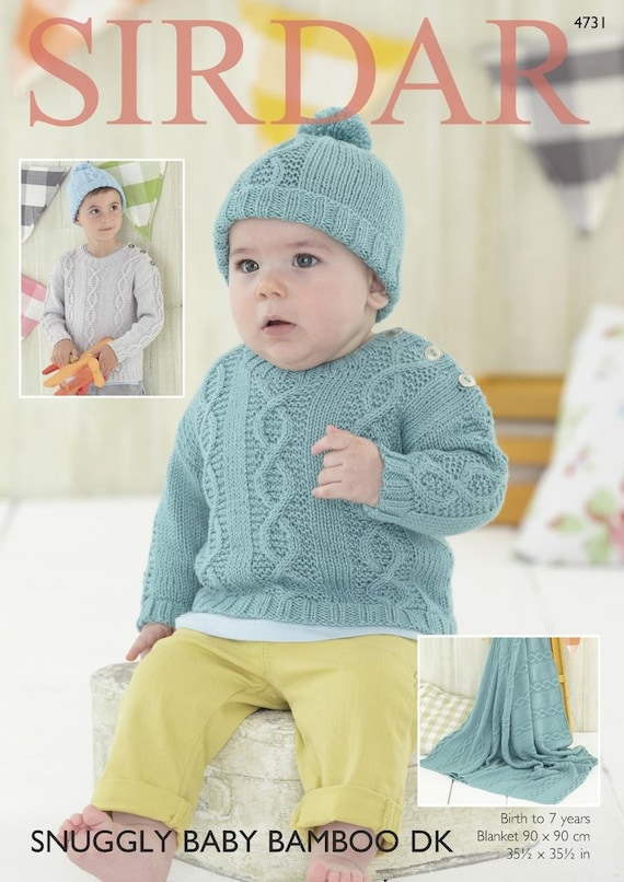Birth - 6 Years Knitting Pattern for Baby /& Childrens Snuggly Cardigan /& Hat
