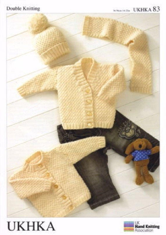 99560c13d Baby Cardigans Hat and Scarf Knitting Pattern UKHKA 83