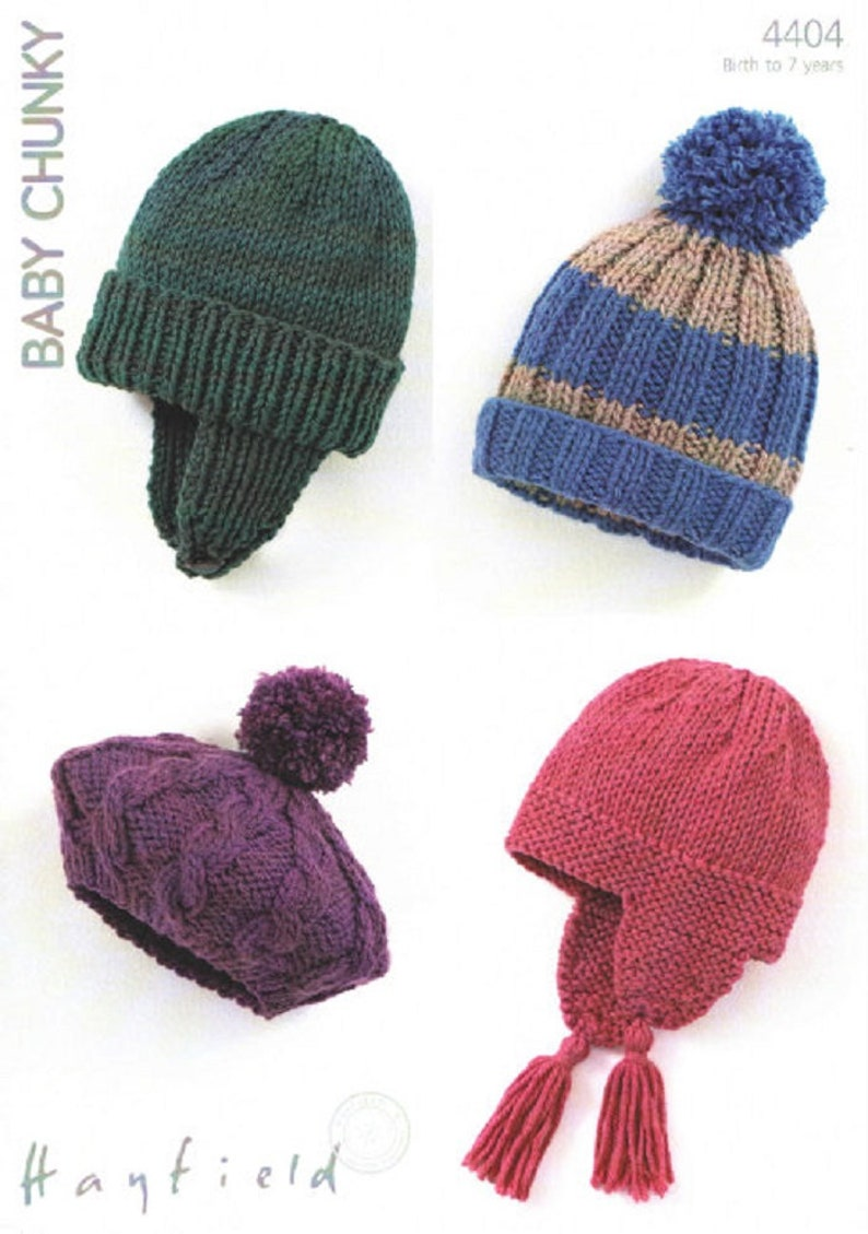 Hayfield Baby Childrens Hats In Baby Chunky Knitting Etsy