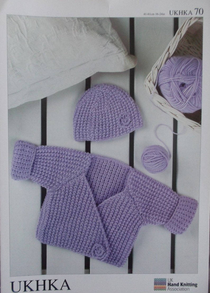 94056cd0f Knitting Pattern Wrap Cardigan and Hat UKHKA 70 0-3 months