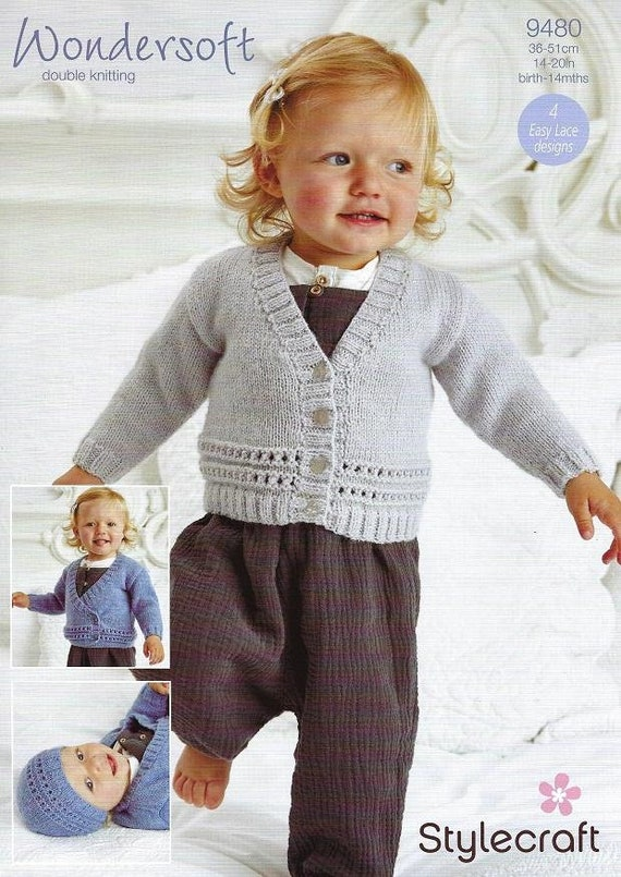 UKHKA 75 Striped Sweater Cardigan /& Tassel Hat Baby Double Knitting DK Pattern