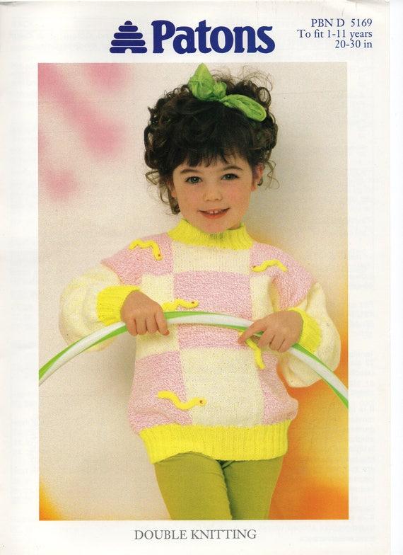 Knitting Pattern Patons 5169 Girls Gloworm Sweater Double Etsy