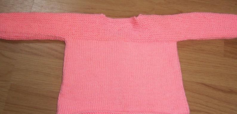 Coat .3-6 months Handmade Round Necked Bright Peach Baby Cardigan Matinee Jacket