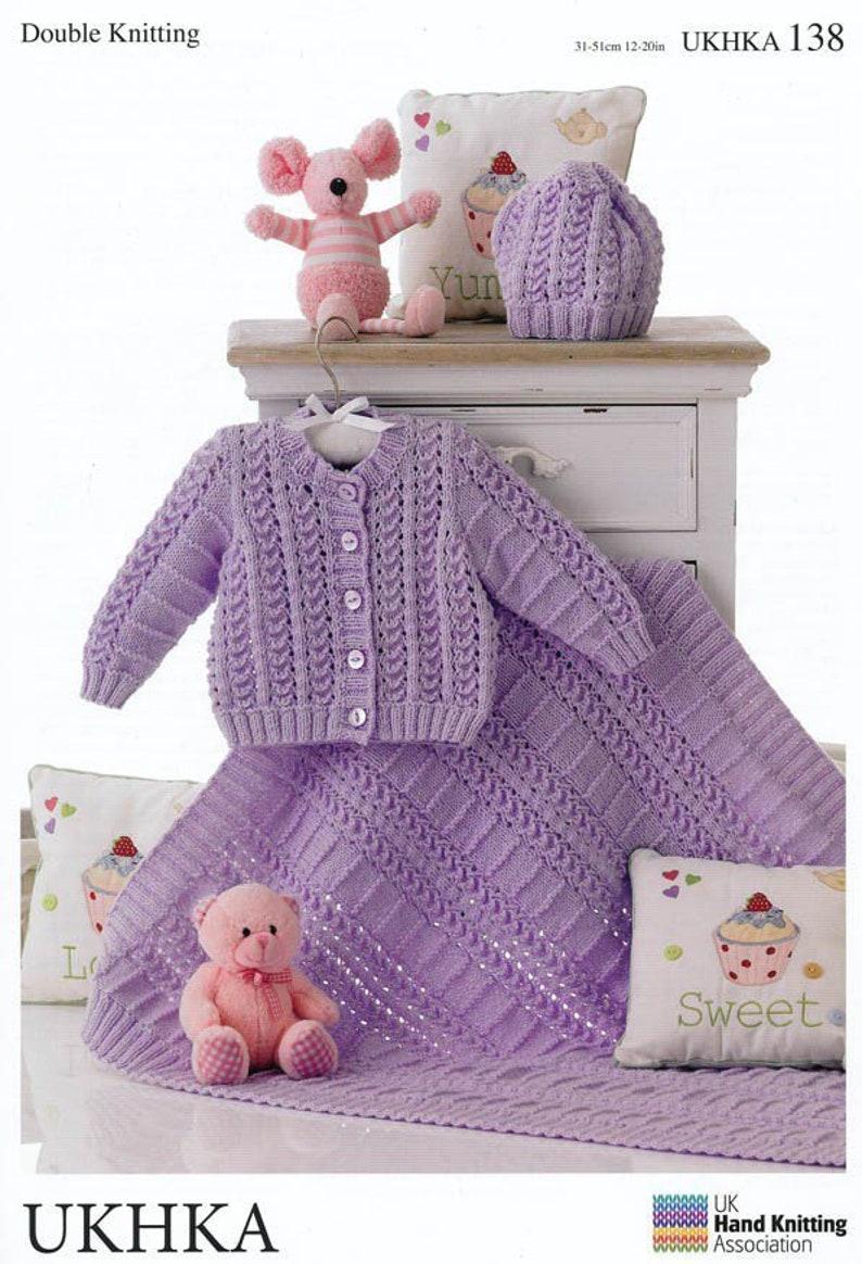725bb12cc Baby Cardigan Hat   Blanket in DK Knitting Pattern UKHKA 138