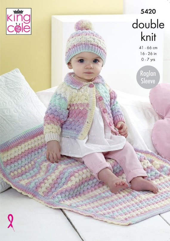 DOUBLE KNITTING KING COLE BABY CUSHION /& BLANKET WITH MOTIFS SEVERAL OPTIONS.