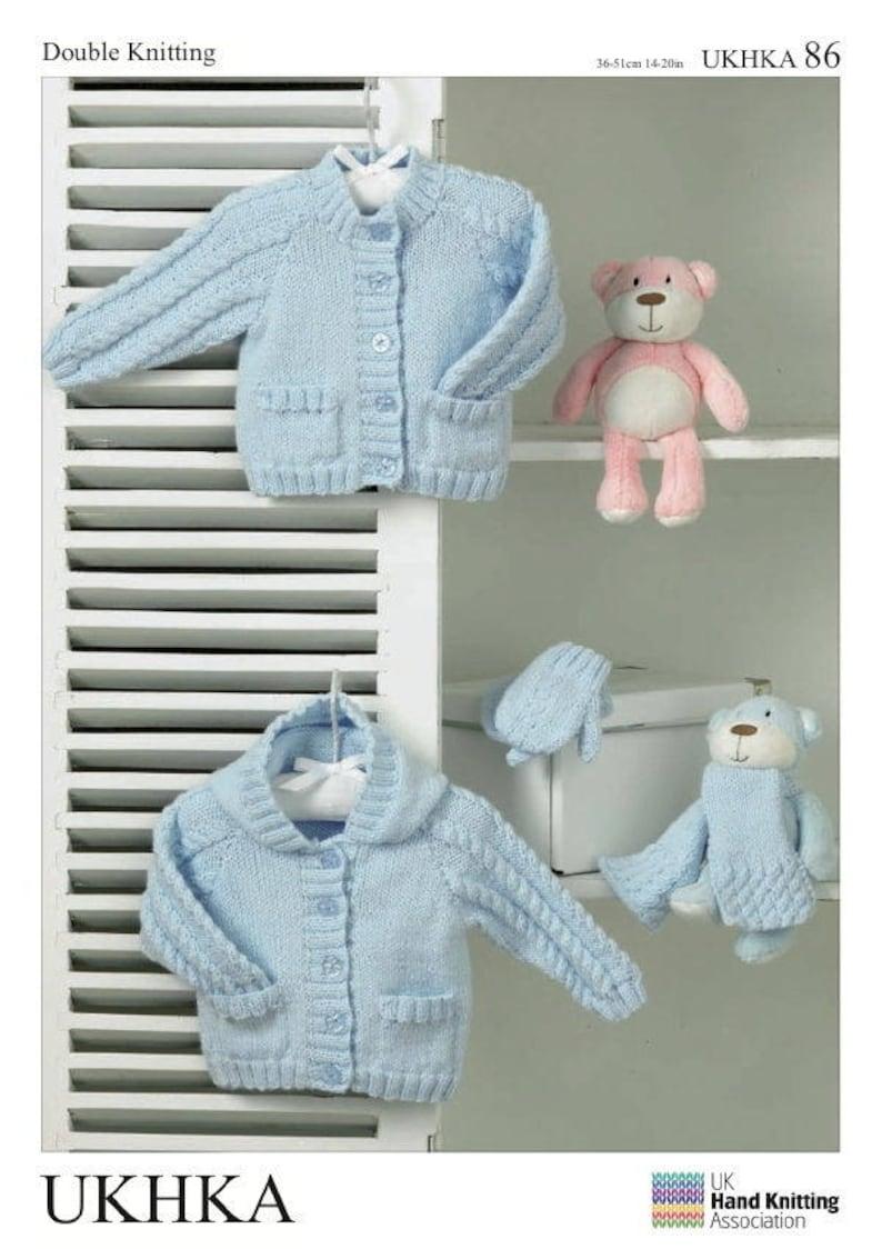 b11a344e0b6f5 Baby Pocket Hoody Cardigan Scarf   Mittens Knitting