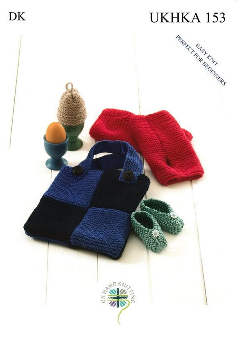 87c364c66f97 UKHKA 153 Knitting Pattern Easy Knit Baby Shoes Egg Cosy