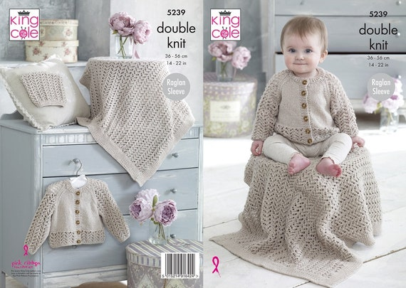 KNITTING PATTERN Baby Cable Cardigan /& Hat 3ply King Cole 5584