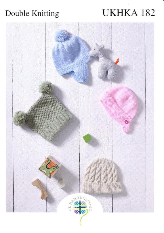 Childrens Hats Knitting Pattern UKHKA 182 helmet bonnet