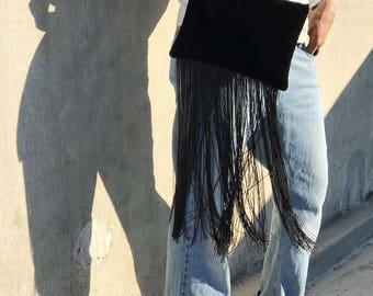 Black Velvet Fringe Clutch, Black Evening Clutch, Velvet Purse, Black Evening Bag, Large Black Clutch, Black Velvet Wedding Bag,