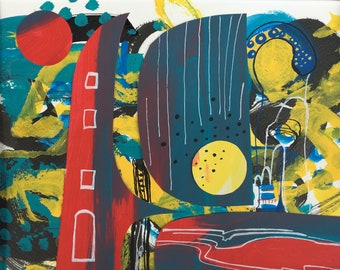 Abstract landscape art painting on paper, mixmedia, collage, markers,colourful , art on paper, modern art