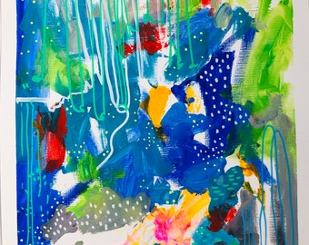 Abstract painting on paper, modern art, abstract modern, collage art, acrylic painting, blue painting