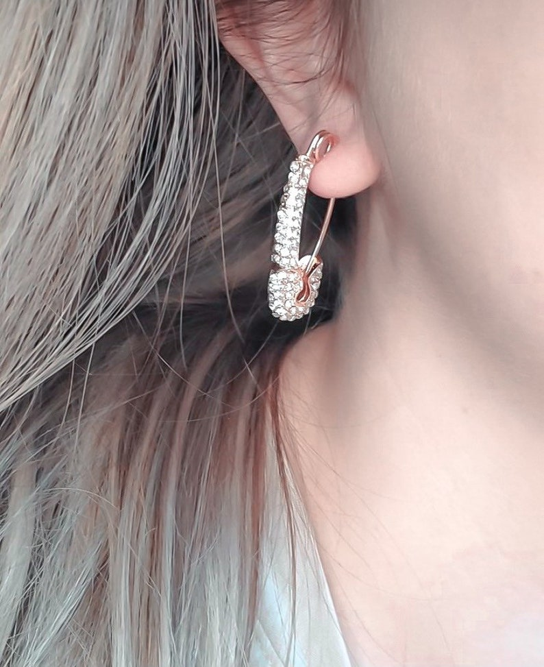 Rose Gold Safety Pin Drop Earrings with Bling