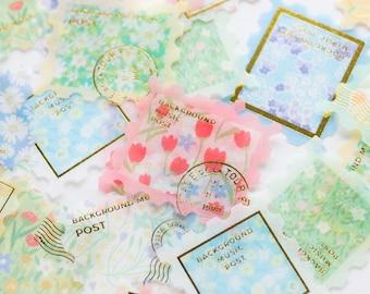 """Washi flake stickers -postage stamp """"Garden""""- / gold foil die-cut stickers / stamp sticker"""