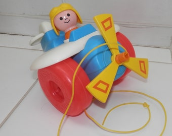 fisher price pull toy helicopter 1980 vintage toy