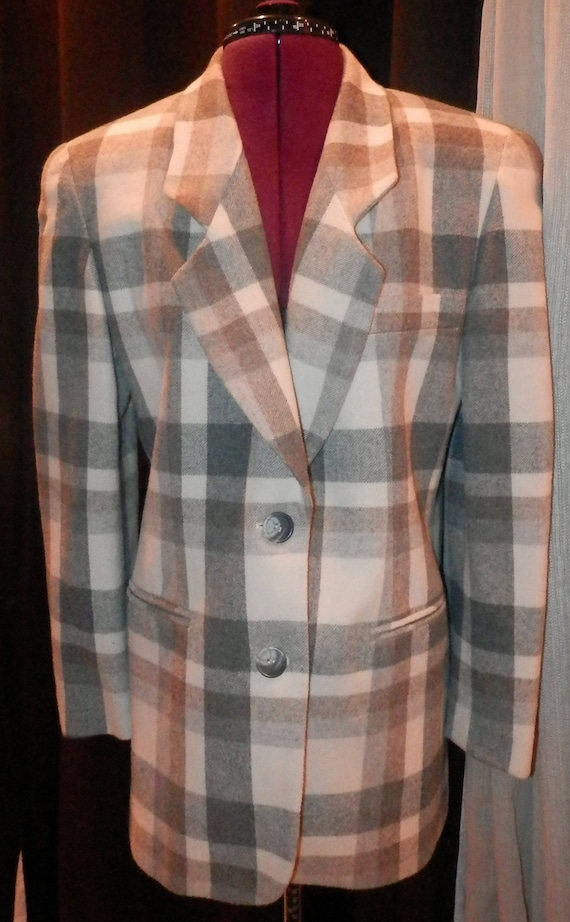 express store vintage women checkered overcoat dre