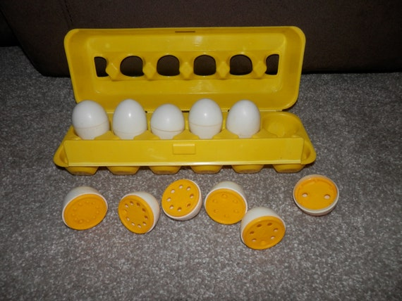 playskool counting eggs yellow container vintage 1987 incomplete