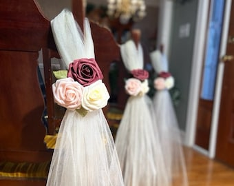 "WHITE BLACK WEDDING 9/"" PULL PEW BOWS BRIDAL DECORATION"