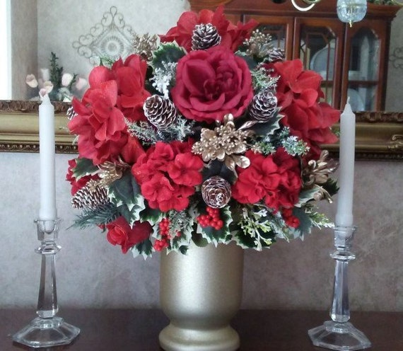 Christmas centerpiece holiday silk flower arrangement holiday etsy image 0 mightylinksfo