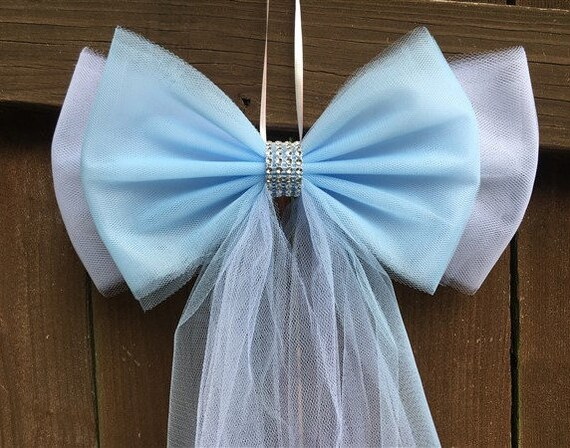 Color Wedding Pew Bows Tulle Pew Bow Aisle Decor Bridal Etsy