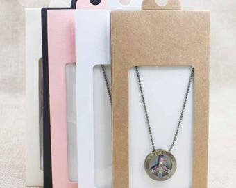 Lovely pink/beige/white/black/kraft gift /candy faovr window hanger box necklace & earring display box wedding card package