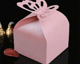 30PCS Pink Butterfly LaserWedding Party Favor Box Butterfly Wedding Box Party Candy Box Cut Boxes Wedding Favors N306-1