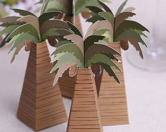 12pcs Rustic Wedding Favor Box Coconut Palm Tree Baby Shower Favor Box Wedding Accessories boda Favors and Gifts