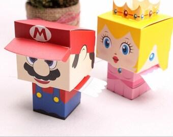 20pcs/lot cartoon Super Marie Bros princess Bride and Groom wedding favors Mario candy box wedding gifts