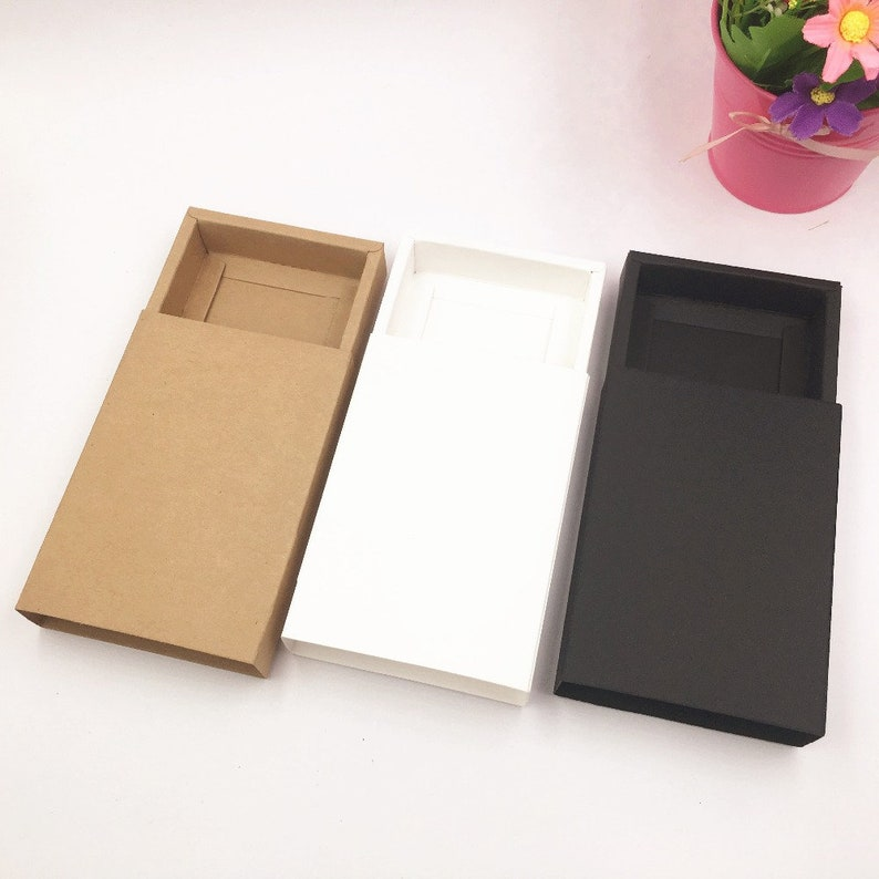 Paper Drawer Gift Boxes 50pcs Kraft Brown Handmade For Soap Packaging Party Box