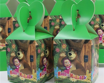 33 pcs/lot masha and bear candy box decor party lovely loading gift for kids happy birthday party decoration supplies child favor