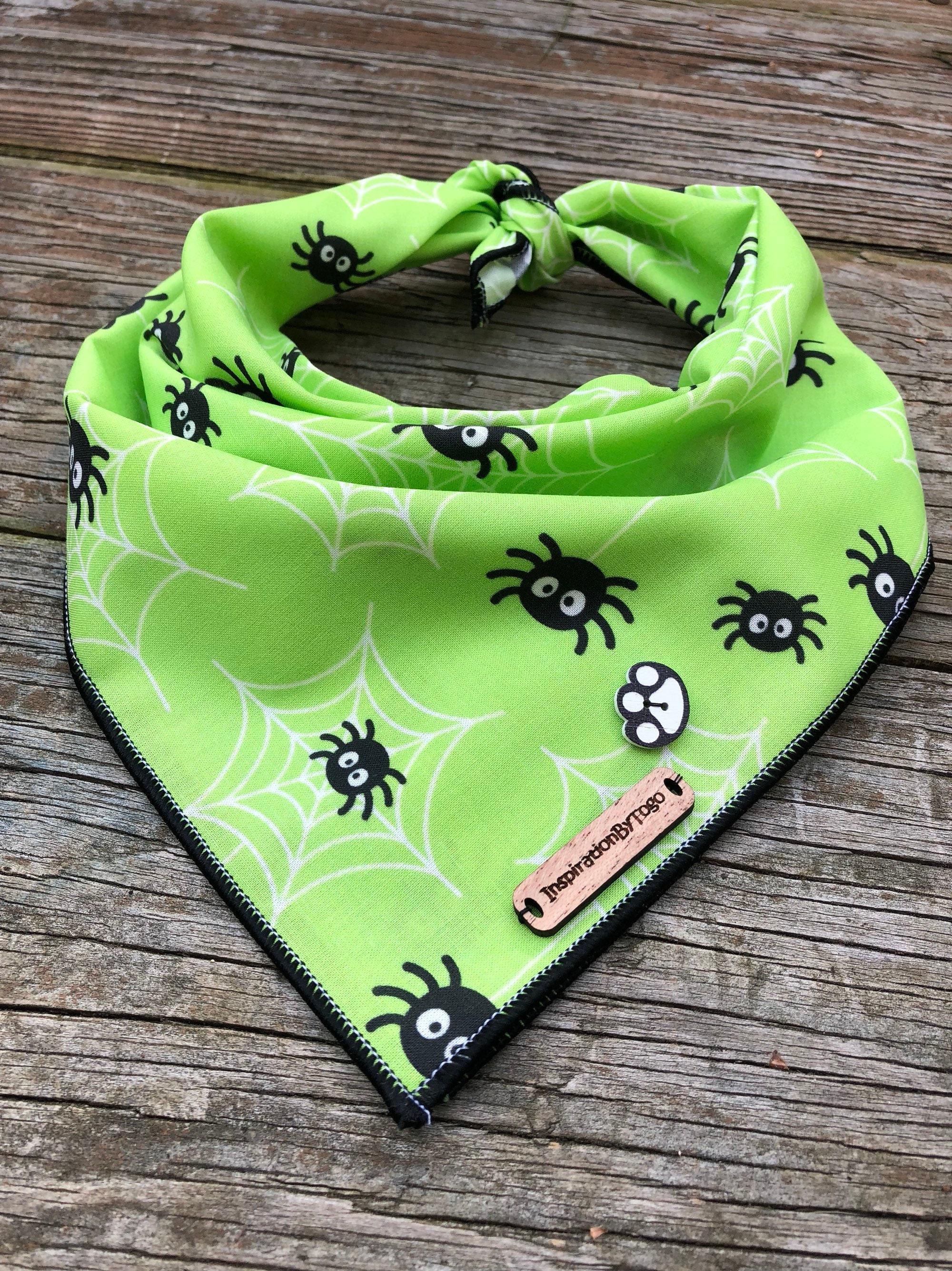halloween dog bandana green spiders // spider dog bandana // | etsy